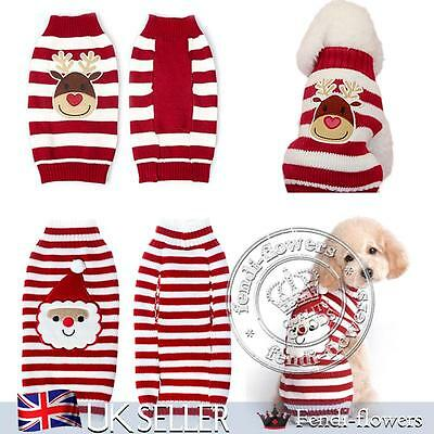 UK Dog Pet Puppy Cat Warm Jumper Sweater Clothes Knitwear Christmas Coat Apparel