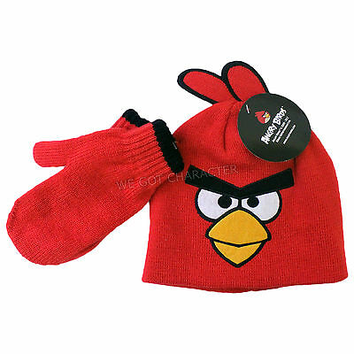 Official Licensed Angry Birds Red Bird Design Beanie Hat Mittens Age 3-6 Years