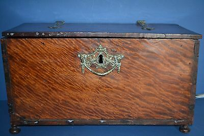 Antique 18th Century/ Later French Mahogany Deed Box,Ornate Brass Fittings,c1750