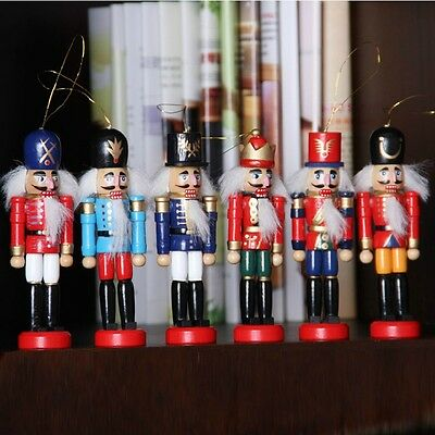 6 x Wooden Nutcracker Soldier Handcraft Walnut Puppet Toy Christmas Home Decor