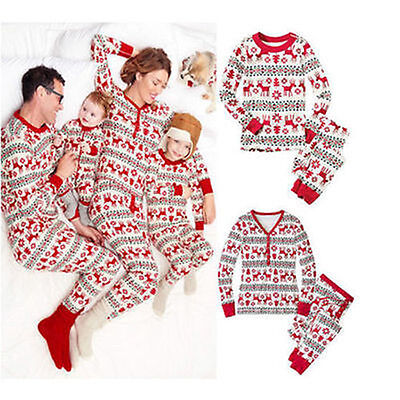Xmas Pajamas Set Kids Baby Adult Family Deer Sleepwear Nightwear Pyjamas Kits