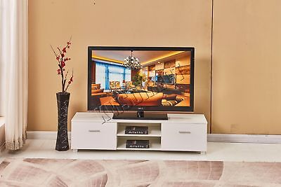 FoxHunter High Gloss MDF TV Cabinet Unit Stand White Home Furniture TVC03 160cm
