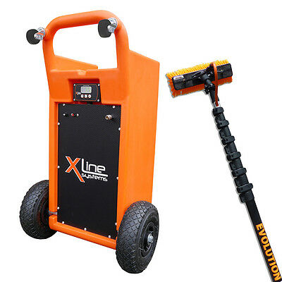 """45 Litre Window Cleaning Trolley + 20ft Water Fed Pole + Lightweight 10"""" Brush"""