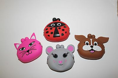 1 OR 4 Animal Silicone Coin Purse Lady Bug Bird Cat Dog Mouse Girls Toy Gift