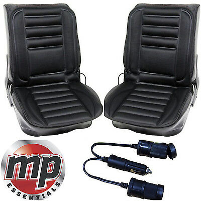 Pair of 12v Car Heating Heated Seat Cover Cushion with Thermostat + Twin Adaptor
