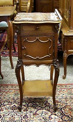 19th CENTURY FRENCH MAHOGANY SINGLE MARBLE TOPPED BEDSIDE CABINET - (001203)