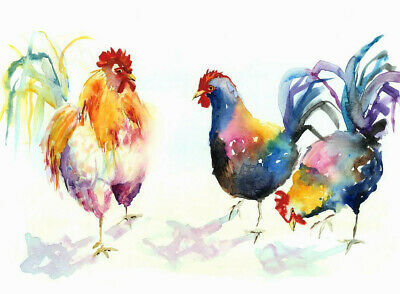 HELEN ROSE Limited Print of my CHICKENS animal bird art watercolour painting 276