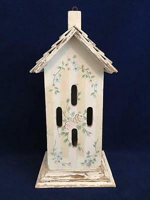 8 Hole Wooden Butterfly House White & Beige Stripes With Blue & Beige Flowers