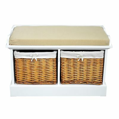 FoxHunter Wooden Storage Bench Seat With 2 Wicker Basket Drawer Cabinet Natural