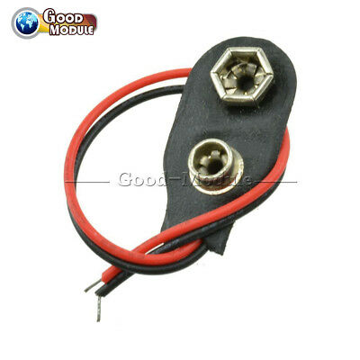 5Pcs Snap on 9V Battery Holder Clip Connector Hard Shell 10CM Cable Lead