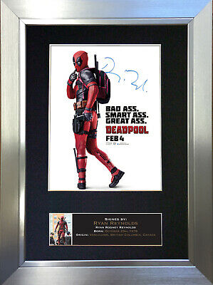 DEADPOOL Ryan Reynolds Signed Autograph Mounted Reproduction Photo A4 Print 612
