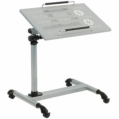 Hartleys Silver Portable Laptop/notebook Table With Castors Over Bed/chair/sofa
