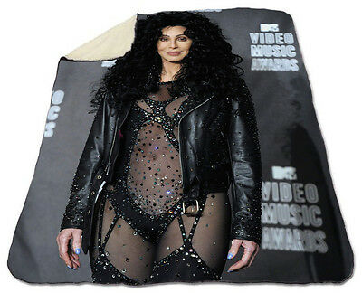 Cher Winter Blanket NEW Fleece Warm Soft If I Could Turn Back Time Christmas