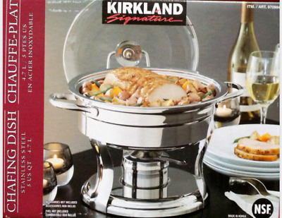 Kirkland Chafing Dish Stainless Steel Food Heating Warming Food Buffet Fuel 4.7L