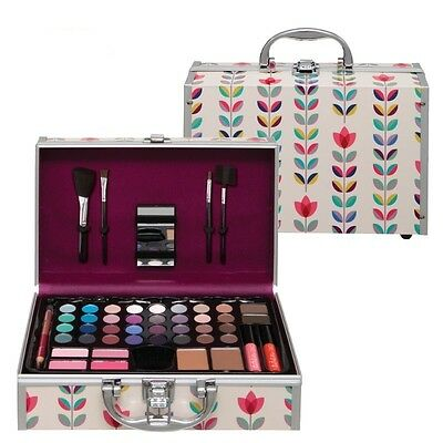 New Eden 48 Piece Vanity Make-up Box  Printed Beauty Case Cosmetics Set