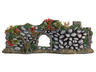 Cobbled Stone Wall with Archway & Plants Aquarium Ornament Terrarium Decoration