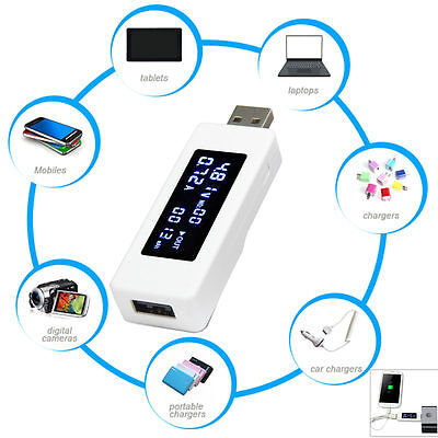 LCD USB Charger Capacity Current Voltage Tester Meter per phone power bank TE385