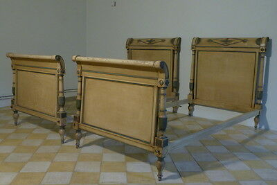 A Fine Pair Of Painted Directoire Style French Beds.