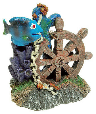 Ships Wheel with Reef and Fish Aquarium Fish Tank Ornament Decoration