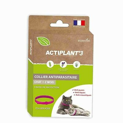 Collier antiparasitaire Actiplant'3 chats Rose,Gris