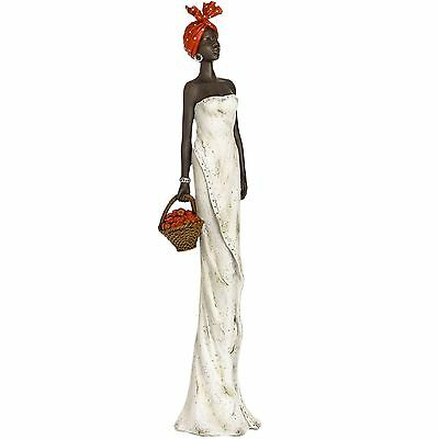 Large elegant African lady figure ornament sculpture in cream for home or gift