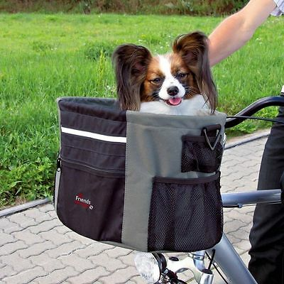 Pet Dog Bicycle Carrier Front Box with Pocket & Reflective Stripe by TRIXIE