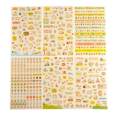 KAWAII CAT SCRAPBOOK STICKERS | 6 SHEETS | Cute Planner Diary Decoration