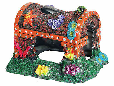 Large Colourful Treasure Chest On Coral Reef Aquarium Fish Tank Cave Ornament