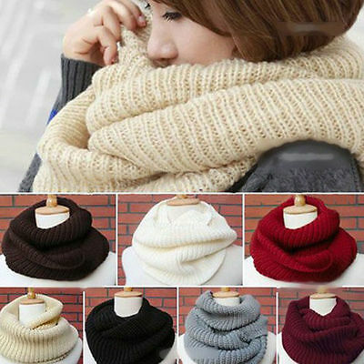 NEW Women MEN Winter Warm Infinity Cable Knit Cowl Neck Long Scarf Shawl Charm