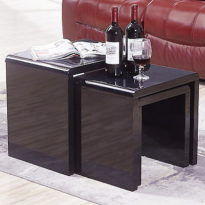 New Modern Design High Gloss Black Nest of 3 Coffee Table/Side Table Living Room