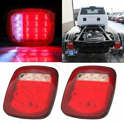 2pcs Truck Trailer Stud Mount Stop Turn Tail back up Light 16 LED Red/white 12v