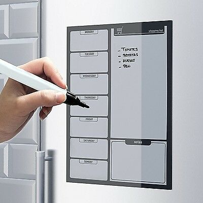 Magnetic Fridge Whiteboard Large Weekly Meal Planner Drywipe A3 Notice Board