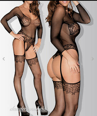 Sexy bodystocking fishnet garter teddy bodysuit lingerie nightwear UK 6-14