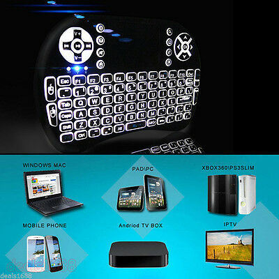 Backlight Wireless For PC Android TV BOX 2.4GHZ Mini Touchpad Keyboard New