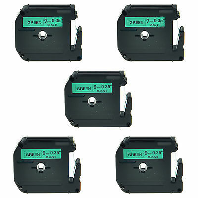 5PK M-K721 M721 MK721 Black on Green Lable Tape 9mm For Brother P-touch 65SL
