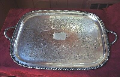 Vintage Large Epc Poole Silver 3213 Etched Tray With Handles