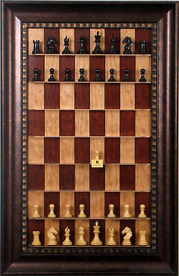 Straight Up Chess Board - Red Cherry Series with Checkered Bronze Frame