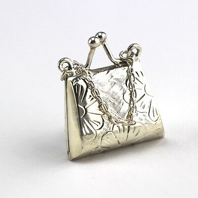 Miniature Art Nouveau Style Handbag Snuff Trinket Box 925 Solid Sterling Silver