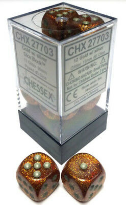 D6 Dice Glitter 16mm Gold/silver (12 Dice In Display)  - BRAND NEW