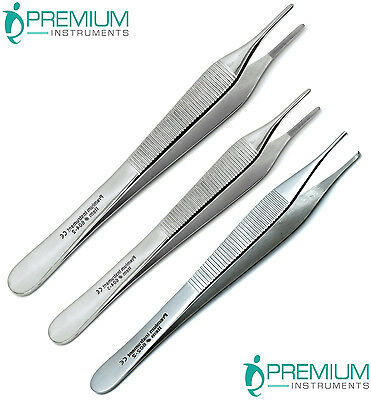 Surgical Forceps Tissue Dressing Adson Tweezers 12cm, 15cm, Kocher 1x2 Set of 3