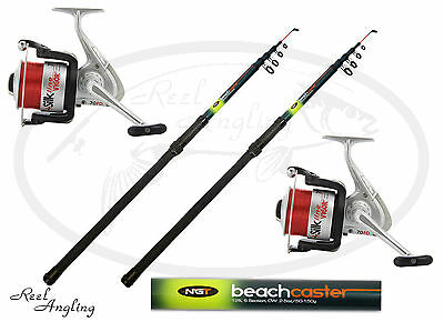 2x NGT 12ft Telescopic Beachcaster Sea Fishing Rod Combo Vigor SIlk 70 Sea Reel