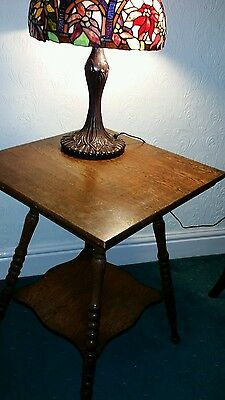 Victorian Oak  Two Tier Side Table with Barley Twist Legs Fluted Edge