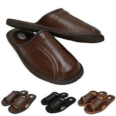 Hommes Chaussons Mule 100% Cuir Naturel Hand Made Noir Brun Taille 6 - 13