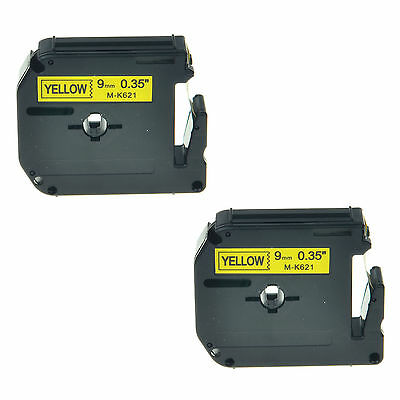 2PK M-K621 MK621 M621 9mm Black on Yellow Lable Tape For Brother P-touch 70SP
