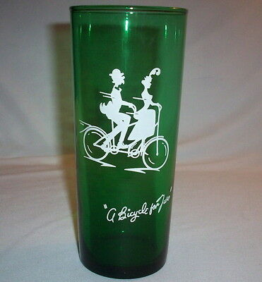 Anchor Hocking FOREST GREEN: Bicycle Built for Two: Tall Glass: EXC: NR