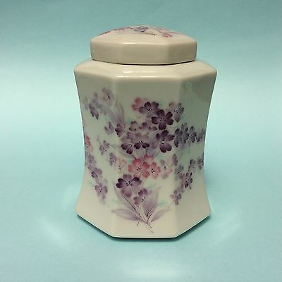 GINGER JAR JAPAN OCTAGONAL LIDDED PORCELAIN Purple Flowers 8-sided White glaze