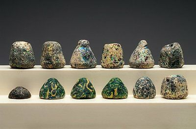 Lot of 12 Ancient Roman Glass Gaming Pieces.