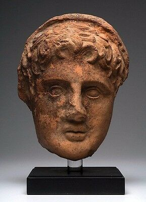 Large Ancient Greek Etruscan Pottery Votive Head.