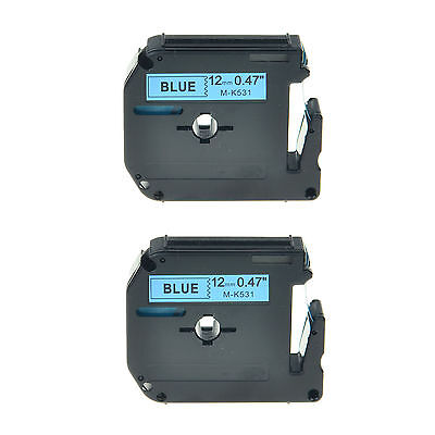 """2PK M-K531 M531 MK531 1/2"""" Black on Blue Lable Tape For Brother P-touch 110 55S"""