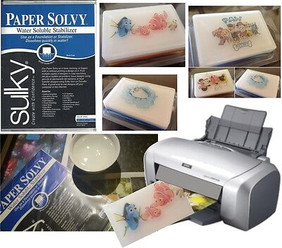 Water Soluble Dissolving Image Paper x 12  Printable, Soap, Inkjet / Laser Sulky